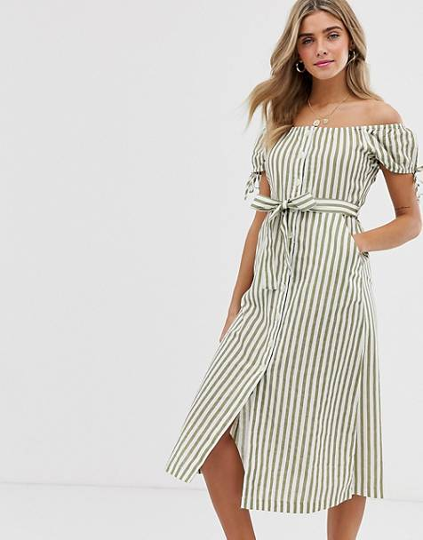 890869bad0 Miss Selfridge off the shoulder midi dress with button through detail in  green stripe
