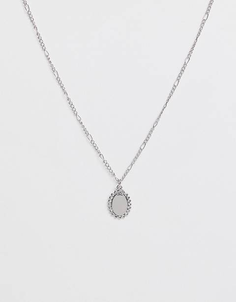 Miss Selfridge oval crystal necklace