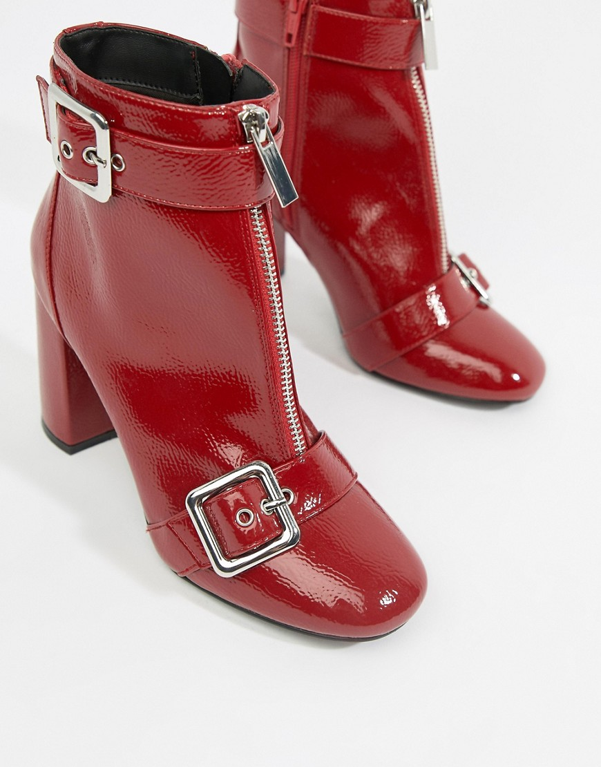 Miss Selfridge Patent Heeled Boots With Buckle Detail In Red by Miss Selfridge