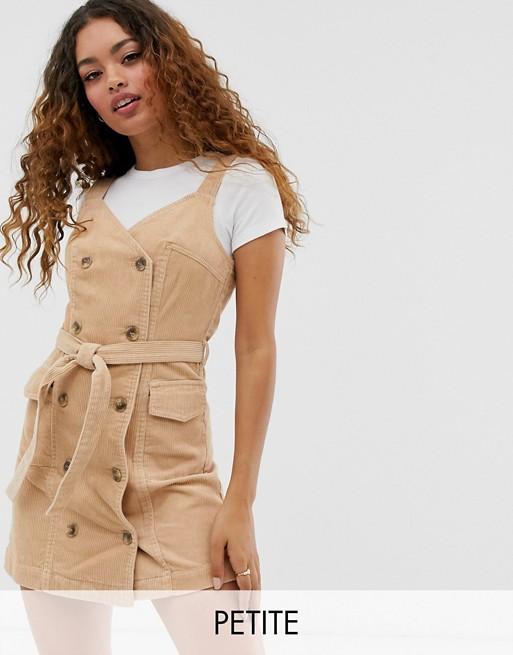 Miss Selfridge Petite cord pinny dress in camel