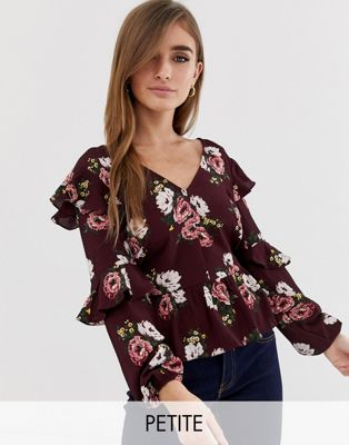 Miss Selfridge Petite Floral Print Ruffle Sleeve Top