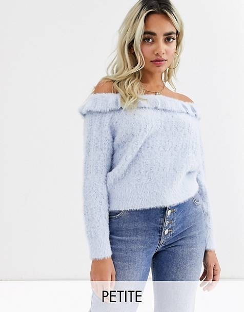 Miss Selfridge Petite off the shoulder sweater with frills in light blue