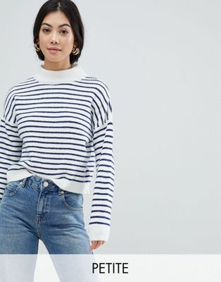 Miss Selfridge Petite Stripe Funnel Neck Jumper