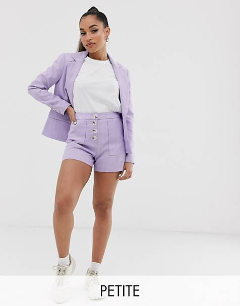 Miss Selfridge Petite tailored shorts with button detail in lilac