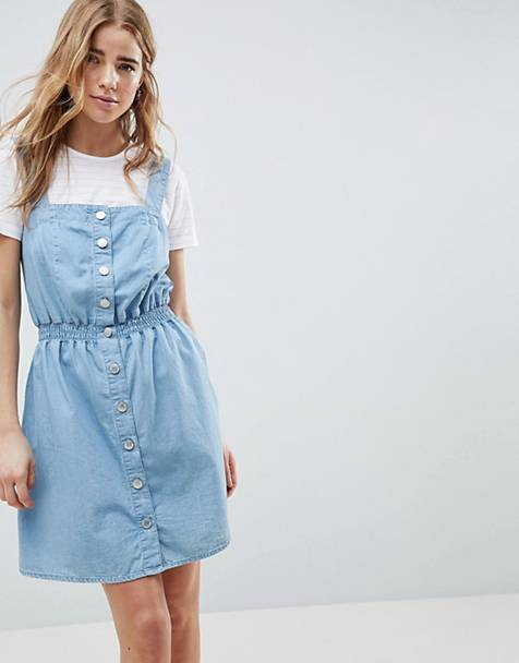 664b11aa96 Miss Selfridge pinafore dress in chambray with shirred waist