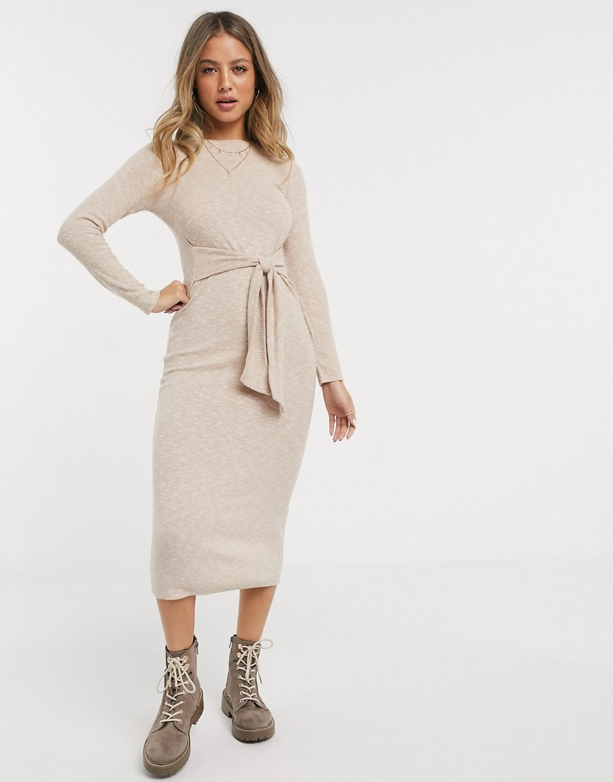 Miss Selfridge ribbed midi dress in camel-Tan - Miss Selfridge online sale