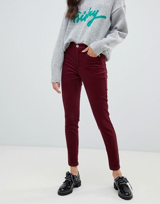 Miss Selfridge skinny cord trousers in burgundy