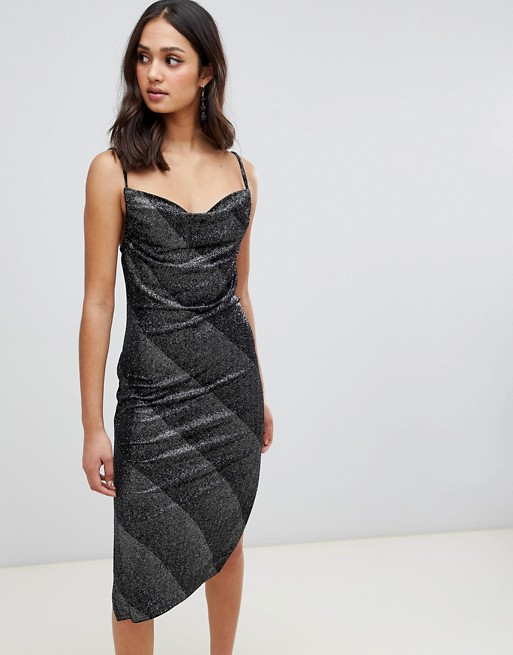 c0d89fb95e4 Miss Selfridge slip dress with cowl neck in silver