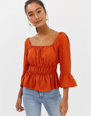 Image 1 of Miss Selfridge square neck top in rust