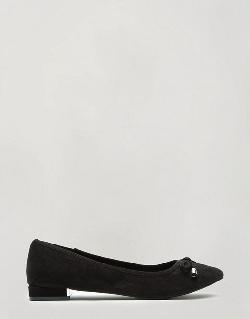 Miss Selfridge square toe ballerina flat in black