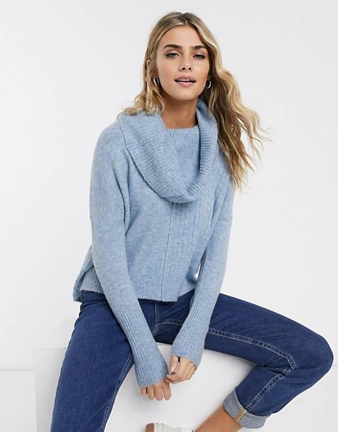 Miss Selfridge sweater with cowl neck in blue