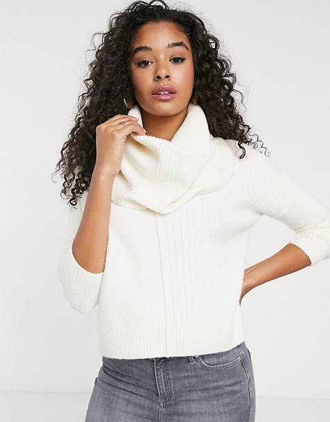 Miss Selfridge sweater with cowl neck in cream