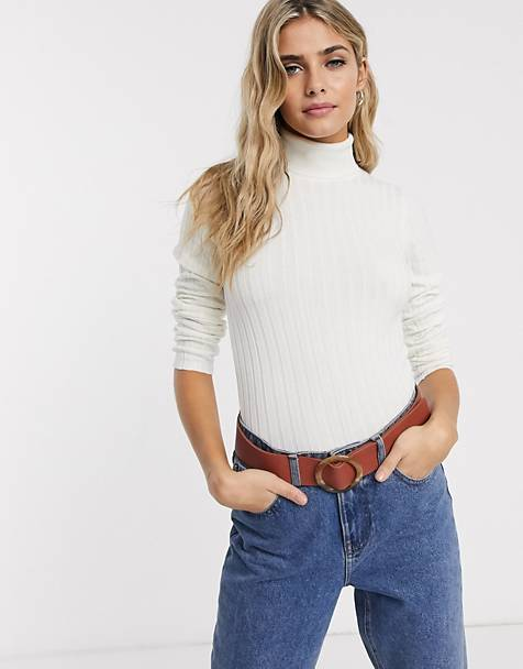 Miss Selfridge sweater with roll neck in cream
