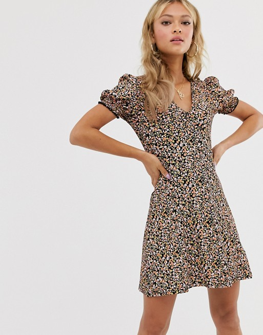 Miss Selfridge tea dress with shirred sleeves in ditsy floral