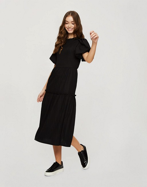 Miss Selfridge tiered maxi dress in black