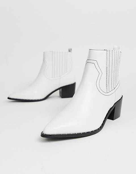 Miss Selfridge western boots in white