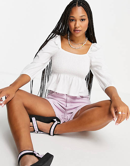 Miss Selfridge White Puff Sleeve Jersey Top