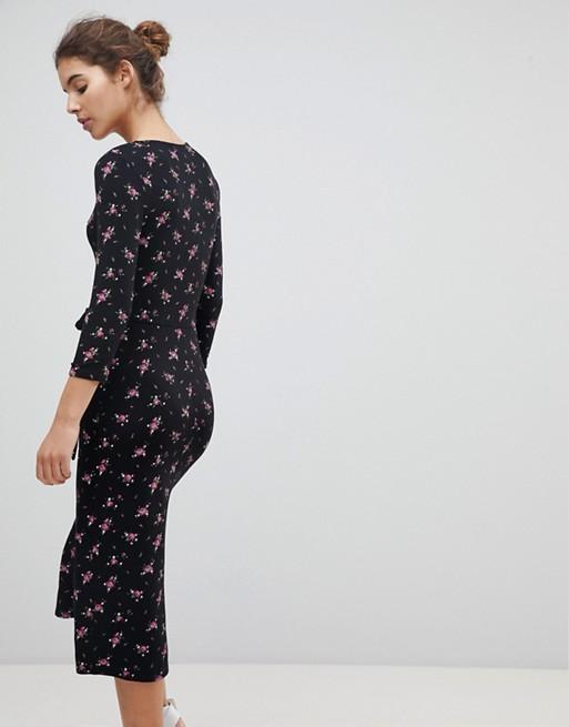 975f90bfb09 Miss Selfridge Wrap Front Ditsy Floral Print Midi Dress