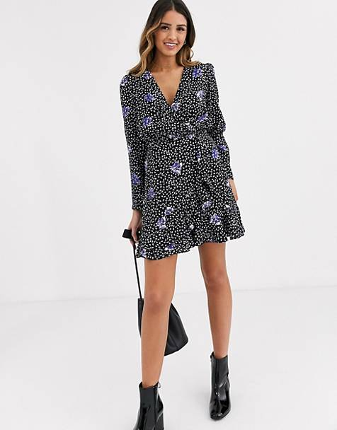 Miss Selfridge wrap mini dress with frill in floral print