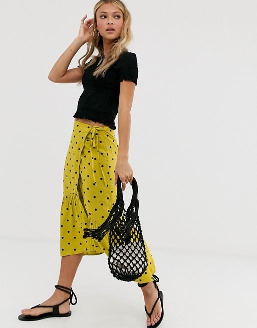 Miss Selfridge wrap skirt in polka dot