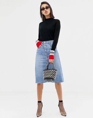 Image 1 of Miss Sixty button through a line denim skirt