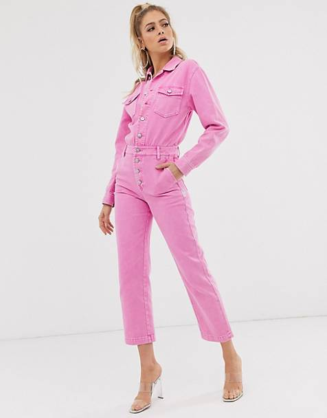 Miss Sixty washed pink denim boilersuit