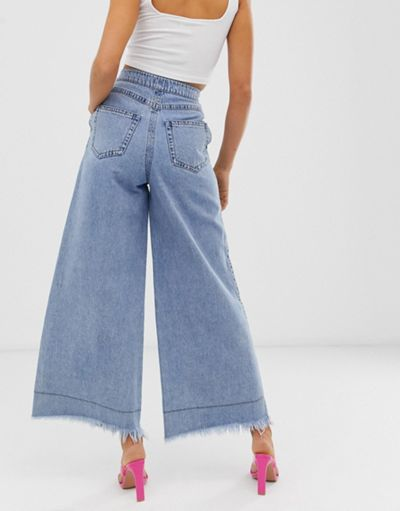 Miss Sixty wide leg flare jeans with raw hem