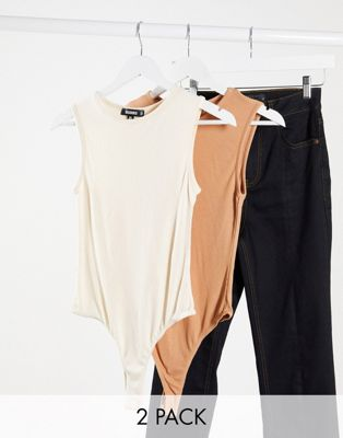 Missguided - 2-pak bodystocking-undertrøjer i beige og brun-Multifarvet