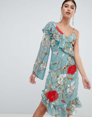 Missguided Asymmetric Frill Detail Floral Midi Dress