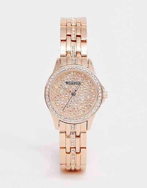 Missguided Bracelet watch in rose gold with crystal dial