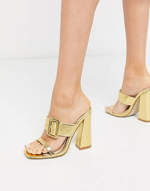 Missguided buckle detail mule in gold