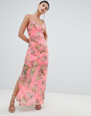 Missguided Chiffon Floral Side Split Maxi Dress