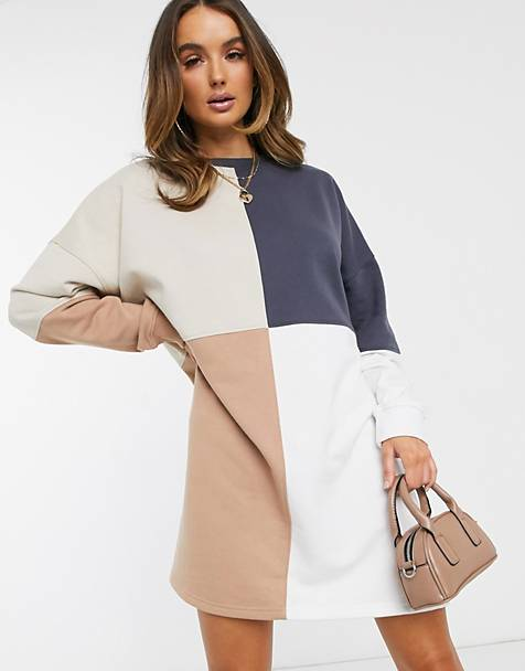 Missguided colour block oversized sweatshirt dress