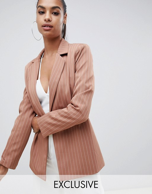 Image 1 of Missguided exclusive pinstripe boyfriend blazer in nude