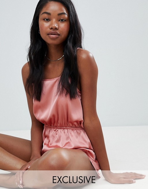Image 1 of Missguided exclusive satin open back teddy