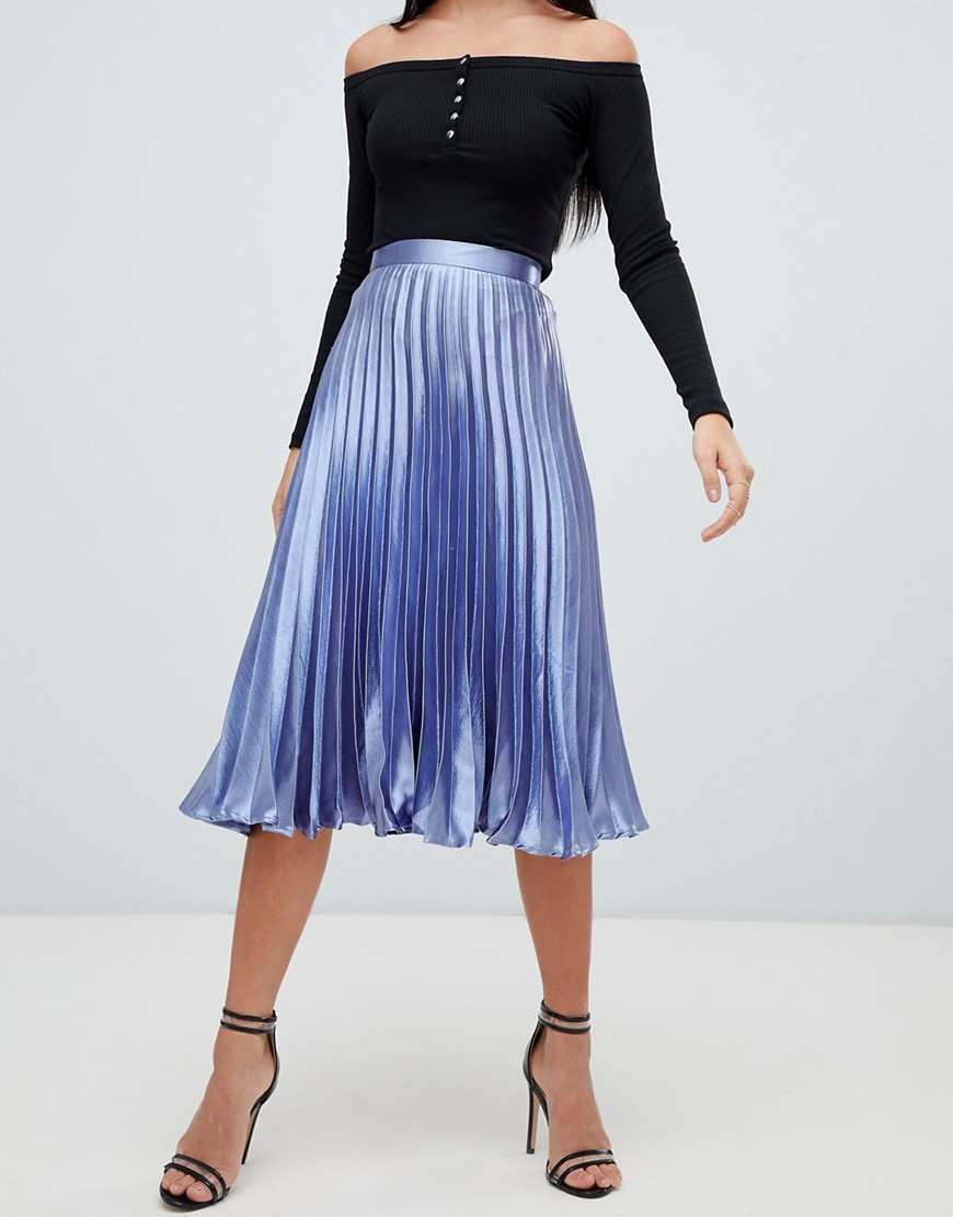 Missguided Hammered Satin Pleated Midi Skirt In Blue by Missguided