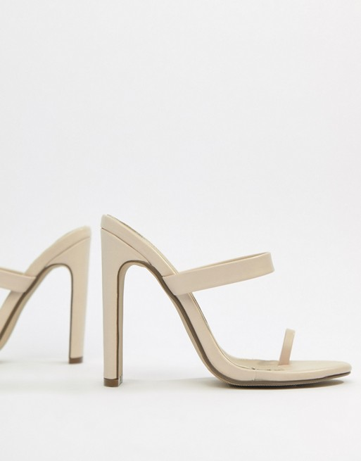 Image 1 of Missguided high heeled toe post mule sandal in beige