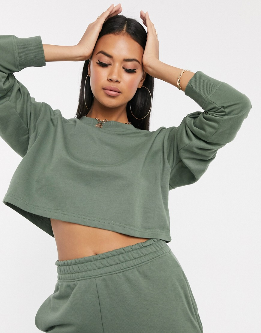 missguided -  – Kurz geschnittenes Sweatshirt in Dunkelgrün, Kombiteil