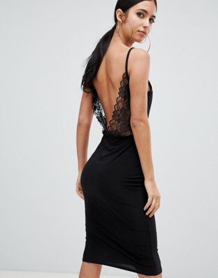Missguided lace open back midi dress in black