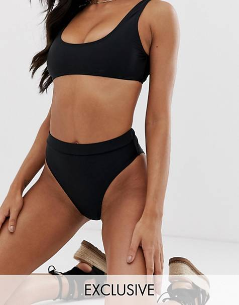 Missguided mix and match high leg bikini bottoms in black