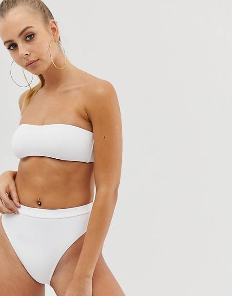 Missguided mix and match high waist bikini bottoms in white