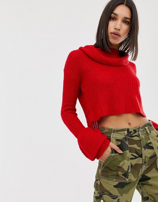 Image 1 of Missguided open stitch roll neck knitted sweater