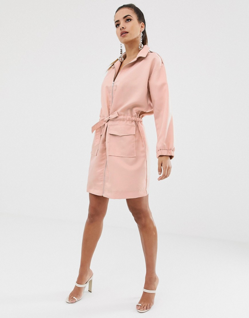 Missguided Oversized Shirt Dress With Zip Through In Pink by Missguided