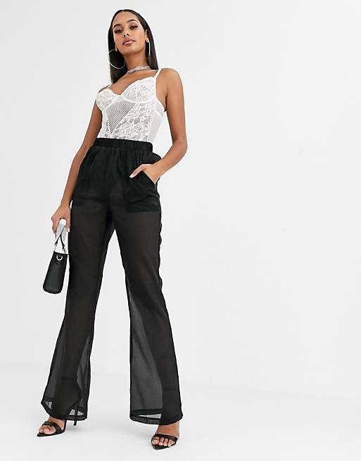 Missguided - Pantaloni ampi in tessuto organico neri