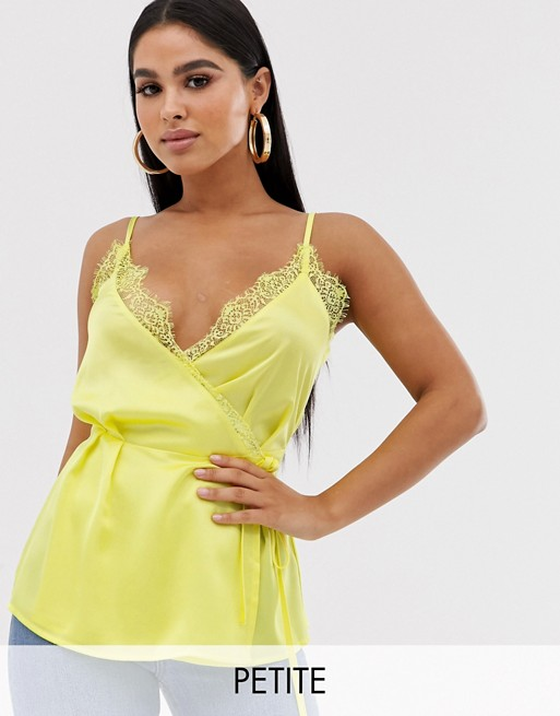 Image 1 of Missguided Petite Exclusive satin wrap cami top with lace trims