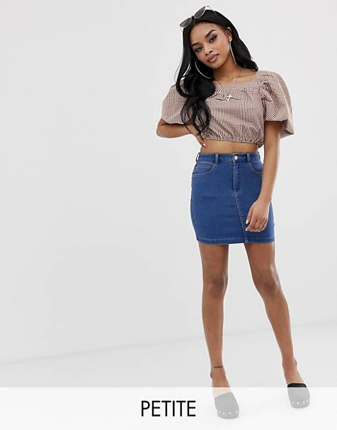 Missguided Petite superstretch denim mini skirt in blue