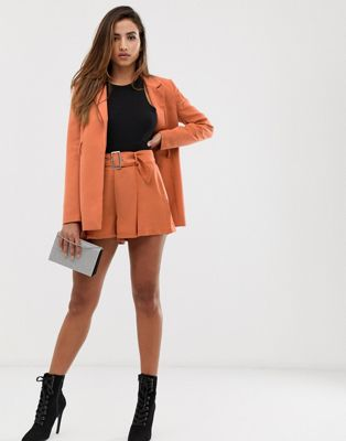 Missguided pleated shorts two-piece in orange