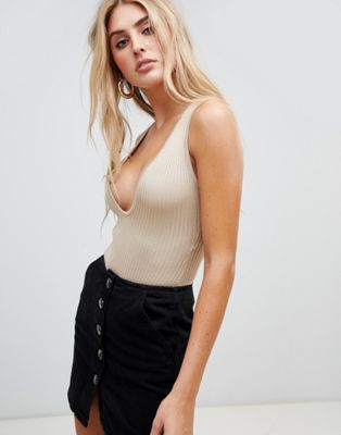Image 1 of Missguided plunge neck knitted bodysuit