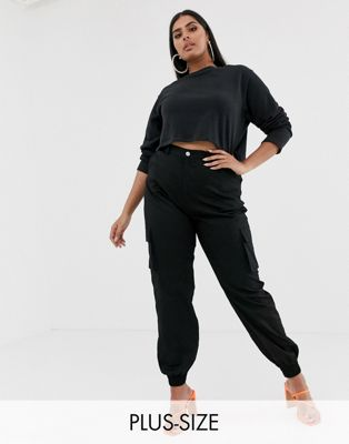 Missguided Plus cargo pants in black