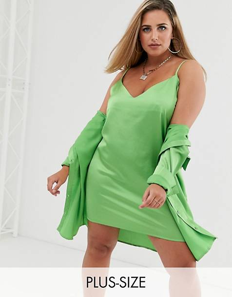 Missguided Plus two-piece satin cami dress in lime